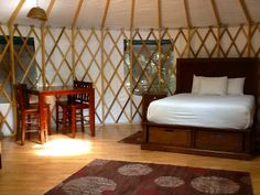 Looks are deceiving, our yurts provide camping in style. They are cozy, air conditioned, and affordable! #glamping #getaway #goregous