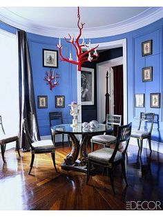 Periwinkle blue walls in a circular Paris dining room, but without the red chandelier would be great haha Dining Room Blue, Dining Room Colors, Dining Room Design, Dining Rooms, Dining Table, Blue Rooms, Blue Walls, Blue Bedroom, Red Chandelier