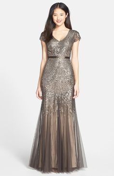 Adrianna Papell Beaded Mesh V-Neck Gown (Regular & Petite & Plus) available at #Nordstrom for bridesmaids