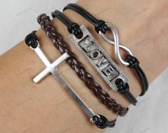 silver infinite bracelets cross braceletslove by lifesunshine, $6.99
