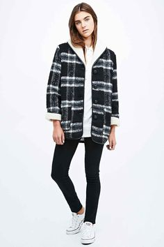 BDG Borg Check Coat in Navy - Urban Outfitters