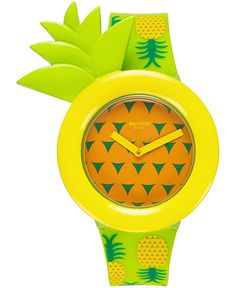 Easy To Grow Houseplants Clean the Air Swatch Unisex Swiss Exotic Taste Green Pineapple Print Silicone Strap Watch Pineapple Design, Pineapple Print, Gold Pineapple, Pineapple Clothes, Pineapple Jewelry, Swatch, Exotic, Unisex, Cool Stuff