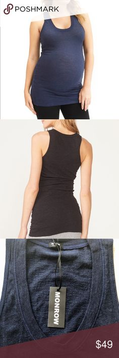 f35f9d1b6871 NWT Monroe Maternity Navy Tank Top This soft, extra long maternity tank has  a well