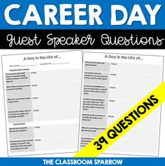 This inquiry-based questionnaire is suitable for a variety of age levels for students to inquire about a particular career, job, or occupation. This can be used as a guest speaker outline and/or for a student web quest.