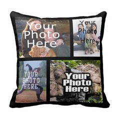 "<font size=""5""><a href=""http://www.zazzle.com/cutencomfy/photo+collage+gifts"">★★CLICK HERE for more Photo Collage Gifts★★</a></font>Add your four favorite digital photos to this unique and custom personalized collage photomontage toss pillow cushion! It's easy and fun, use the online designer to upload 4 images, and place them into a picture collage on both sides of this 2-sided pillow with black background.  Create your own unique custom keepsake photo gift for family snapshots, kids…"