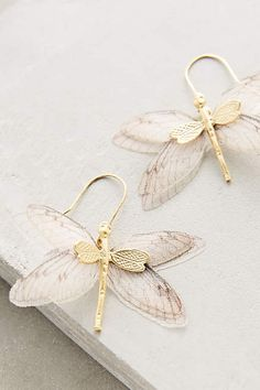 Zabulon Earrings - 22k gold plated metal, silk organza