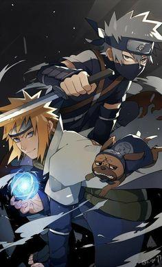 Kakashi and Minato - Naruto Naruto Shippuden Sasuke, Naruto Kakashi, Anime Naruto, Fan Art Naruto, Hinata, Manga Anime, Shikamaru, Gaara, Naruto Wallpaper