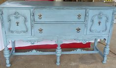 Buffet for tv stand - this kind of piece would work for my family room. Besides, it reminds me of my grandmother's house. Upcycled Furniture, Antique Furniture, Painted Furniture, Refinished Furniture, Shabby Chic Tv Stand, Tv Center, Cool Tv Stands, Living Room Decor, Dining Room