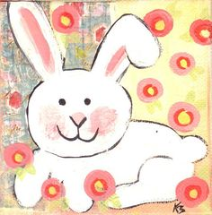 Easter bunny original painting 4 x 4 by fromvictoryroad on Etsy Easter Art, Easter Bunny, Easter Decor, Easter Ideas, Easter Crafts, Art Lessons For Kids, Art For Kids, Kid Art, Paint And Sip