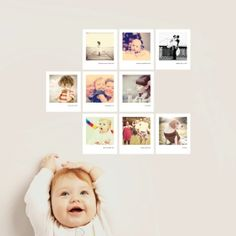 Really cute ideas for displaying custom wall decals. Love this vintage Polaroid style!