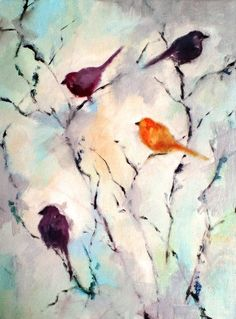 Birds in the garden - original oil painting on canvas by Maria Kitano