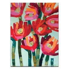 Red Flowers by Anna Blatman Painting Print on Wrapped Canvas