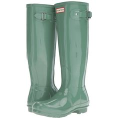 Hunter Original Tall Gloss (Succulent Green) Women's Shoes ($150) ❤ liked on Polyvore featuring shoes, boots, knee-high boots, wellington boots, green knee high boots, tall rain boots, rubber boots and green rain boots