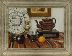 Denys Wells (1881-1973), Still life with teapot, orange & goblets (1954), oil on canvas, 40.6 x 55.9 cm.  Reproduction late 19th century French ogee frame with silverleaf finish
