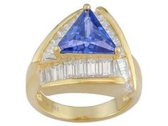 Charles Winston For Bella Luce (R) Tanzanite Color 5.72ctw 18kt Yg Over Sterling Silver Ring