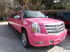 Super Stretch Pink Cadillac Escalade Limousine Service...uh, if I ever need to rent a limo, I choose this one!