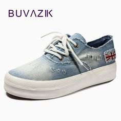 2017 Adult casual shoes women denim canvas rubber breathable lace up  platforms summer solid shoes for woman-in Women s Vulcanize Shoes from  Shoes on ... 269a8f47b22