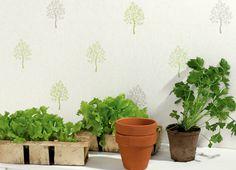 Collection DELICES. Nature, arbre, feuilles, cuisine, vert, beige, papier-peint