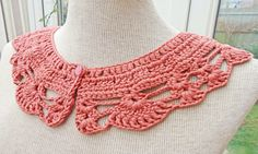 Crochet Collar Peter Pan Style crochet Collar Pink by evefashion, £12.00