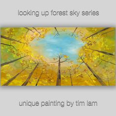 Looking Up Fall Forest tree sky Contemporary painting by elseart