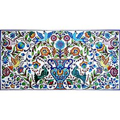 Mosaic 'Floral' 32-tile Ceramic Wall Mural - Overstock™ Shopping - Big Discounts on Arts Exotiques Decorative Tiles. $277