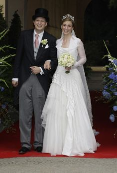 Georg Friedrich Ferdinand Prince of Prussia and Princess Sophie of Prussia leave their religious wedding ceremony in the Friedenskirche Potsdam on August 27, 2011 in Potsdam, Germany.