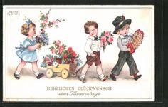 Artiste-AK-hannes-petersen-felicitations-au-namenstage-Enfants-avec-chariot-a-tirer