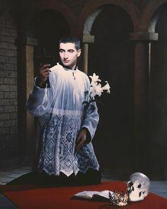 """Pierre et Gilles on Instagram: """"Saint Louis De Gonzague 🌿💀📖👑⛪️🖤🖤🖤🖤🖤🖤🖤🖤🖤🖤 saint patron des personnes atteintes du SIDA 🌿💀📖👑⛪️ with @salvatore_caputo #pierreetgilles #1991…"""""""