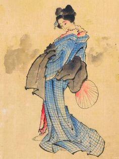 Hokusai : femme à l'éventail.