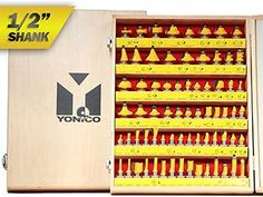 Yonico 17702 70 Bits Professional Quality Router Bit Set Carbide 1/2-Inch Shank