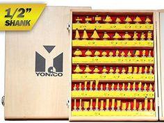 Yonico 17702 70 Bits Professional Quality Router Bit Set Carbide 1/2-Inch Shank