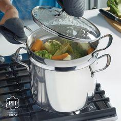 ¡Cocina tus alimentos al vapor a la perfección cada vez que la usas! Nuestra Olla de 8 qt. Clásica de Acero Inoxidable Princess Heritage® con vaporera es la maravilla en una sola pieza que toda cocina necesita.