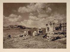 1926 Tombs Judean Desert Judea Judah Israel Palestine - ORIGINAL PS1 - Period Paper Photograph by Karl Gršber
