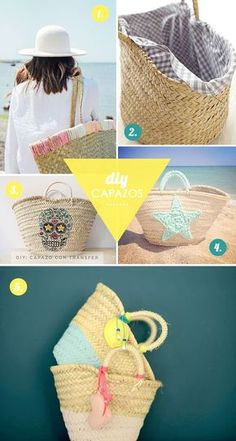 The liner for this basket is essentially a tube of fabric cut from the bias. It gets cinched at one end (for the bottom of the basket), while the other end is folded over the edge of the basket. Ibiza, Beach Basket, Painted Baskets, Boho Accessories, Knitted Bags, Diy Gifts, Crafty, Handmade, Straw Tote