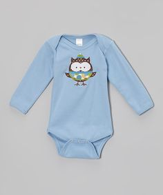 Take a look at this Blue Winter Owl Bodysuit - Infant by Petunia Petals on #zulily today!