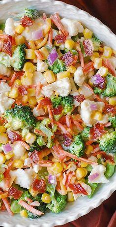 Creamy Broccoli, Cauliflower, Corn, Bacon Salad. #healthy #salad #veggies