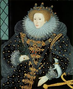 "English opulence, Italian reticella lace ruff, (possibly) Polish ornamentation, a French farthingale, and Spanish severity: The ""Ermine Portrait"" of Elizabeth I"