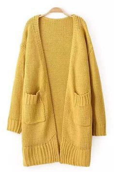 Double Pockets Long Sleeve Knit Cardigan