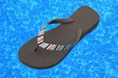 32b357e5c405 Custom Crystal Havaianas flat or Cariris Wedge Heel Flip Flops Striped  Sandals