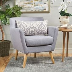 Shop Meena Buttoned Mid Century Modern Fabric Club Chair by Christopher Knight Home - On Sale - Overstock - 17019627 - Grey Wingback Accent Chair, Chair And Ottoman, Accent Chairs, Arm Chairs, Dining Chairs, Eames Chairs, Upholstered Chairs, Chair Cushions, Wing Chair