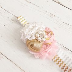 Pink gold white headband-sparkly rosette chiffon pearl headband-pink gold party headband by Goldfeatherboutique on Etsy https://www.etsy.com/listing/223244245/pink-gold-white-headband-sparkly-rosette