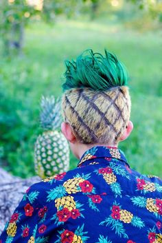 Check out the teen who is almost pulling off this pineapple haircut.