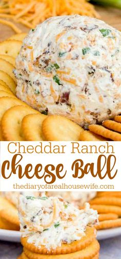 This Cheddar Ranch Cheeseball is perfect for Thanksgiving. Recipes Appetizers And Snacks, Yummy Appetizers, Snack Recipes, Cooking Recipes, Easy Recipes, Desserts, Best Cheese Ball Recipe, Cheese Ball Recipes, Easy Cheeseball