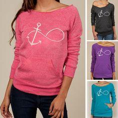 Women Hoody Spring Autumn Anchor Print Sweatshirt Long Sleeve Women Hoodies Casual Pullovers