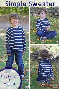 Simple Boy's Sweater - FREE pattern & tutorial, sizes 18M, 4 yr., and 6 yr.  It's a super quick sew and you have an unlimited amount of ways to make the patternyour own.