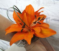 Orange Tiger lily Wrist corsage by BrideinBloomWeddings on Etsy
