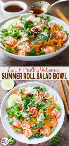 Healthy Spring Rolls, Healthy Summer, Healthy Rolls, Healthy Food Alternatives, Healthy Recipes, Healthy Vietnamese Recipes, Salad Bowls, Soup And Salad, Salad Bar