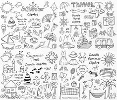 BIG SET of Doodle Summer cliparts, Hand drawn vacation clipart, Digital clip…