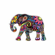 Elephant Car Decal Colorful Design Bumper Sticker by MeganJDesigns Tribal Elephant Drawing, Elephant Art, Elephant Parade, Laptop Decal, Laptop Stickers, Windows Color, Cute Car Decals, Jungle Flowers, Colorful Elephant