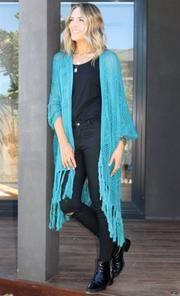 Bijou Stardust Crochet Kimono in Turquoise Crochet Cape, Barefoot Blonde, Indian Summer, Capes, Bohemian Style, Fashion Online, Kimono Top, Turquoise, Coat